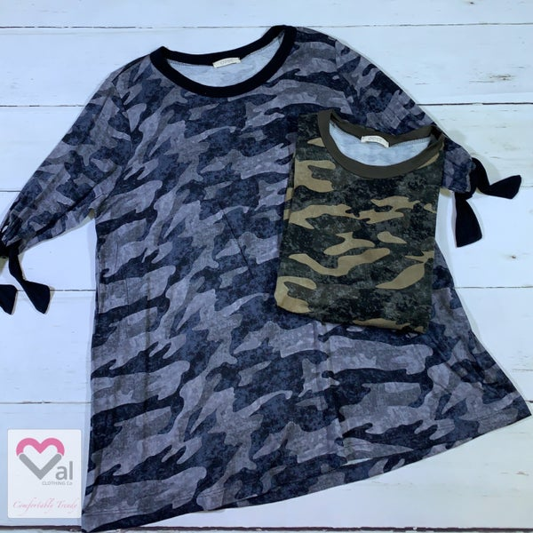 3/4 Sleeve Camo Print Top with Tie Detail