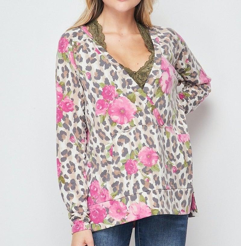 Long Sleeve Leopard Floral Wrap Hoodie Top