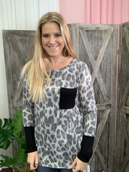 Long Sleeve Leopard Top with Solid Contrast Detail