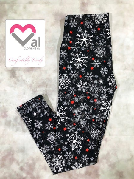 Black, White, and Red Snowflake Holiday Leggings
