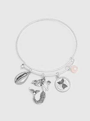 Brushed Textured Metal Sea Life Charm With Bead Bracelet