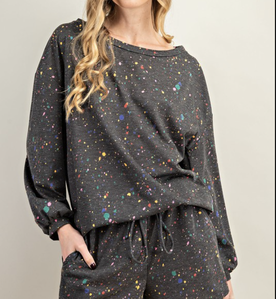 Long Sleeve Boat Neck Splatter Print Top