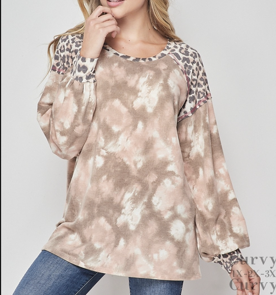 Long Sleeve Tie Dye Top with Leopard Contrast Detail