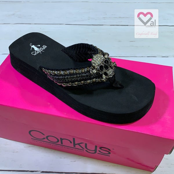 Corkys Wedge Flip Flops with Skull and Stud Detail