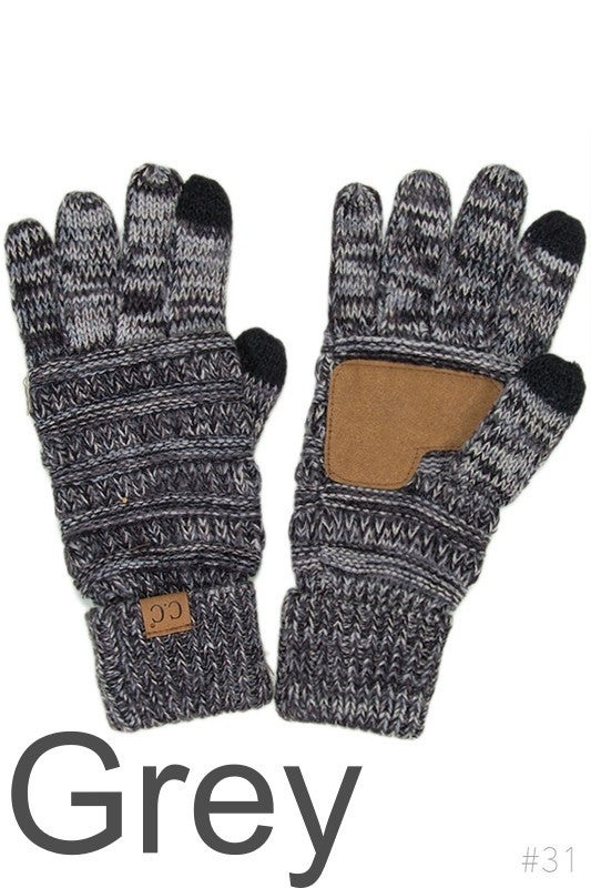 CC Four-Tone Knit Touch Screen Gloves