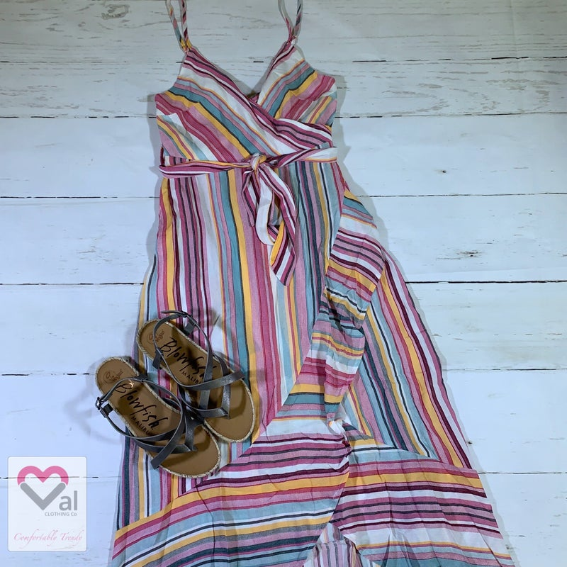 Spaghetti Strap Striped Maxi Hi-Low Dress