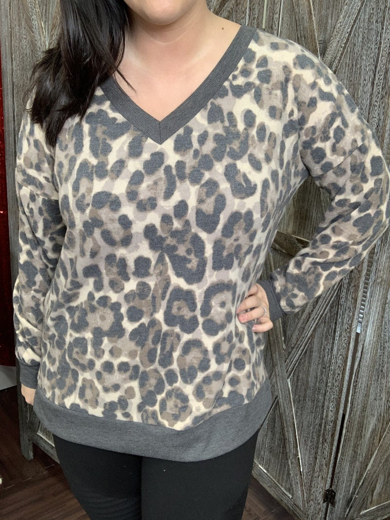 Long Sleeve Leopard Top with Solid Trim Detail
