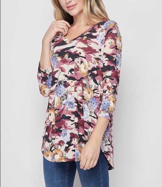 3/4 Sleeve Camo Floral Print Top