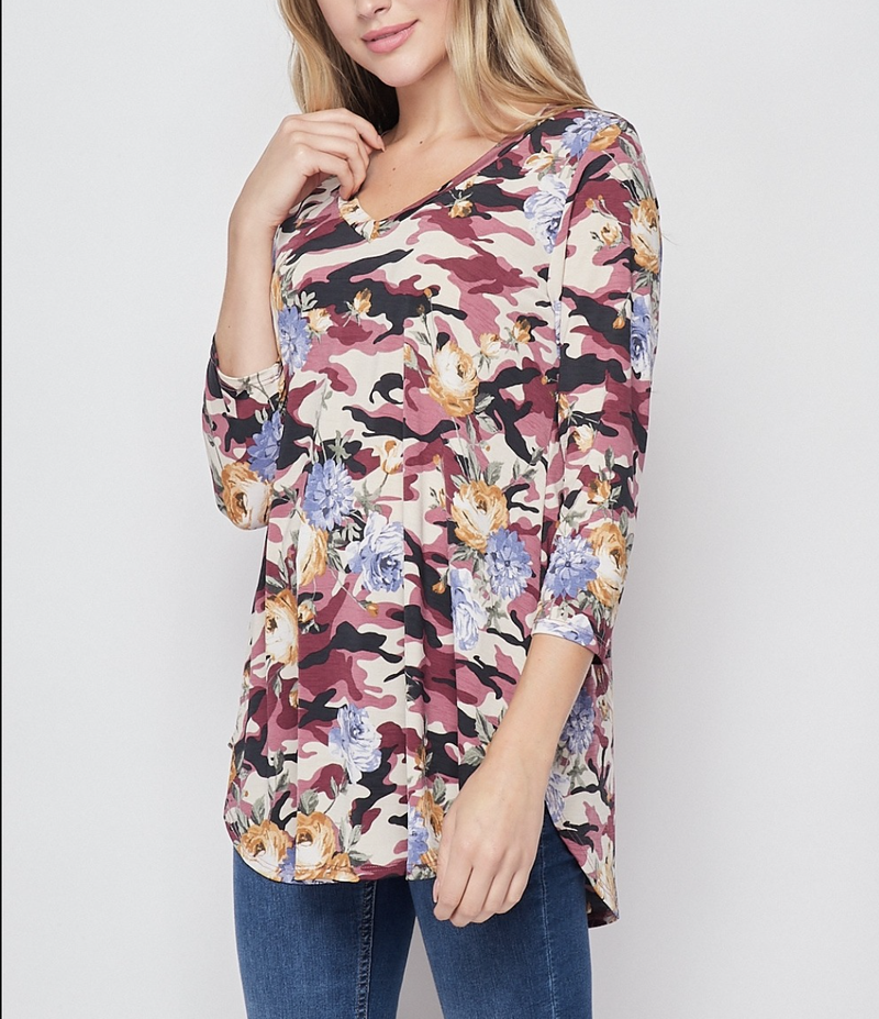 3/4 Sleeve Camo Floral Print Top