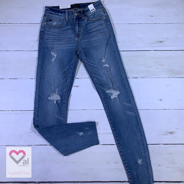 Judy Blue Mid Rise Destroyed Skinny Jeans with Raw Hem