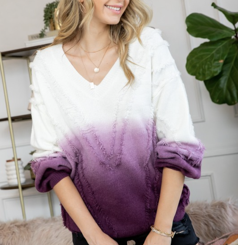 Long Sleeve V Neck Ombre Sweater Top