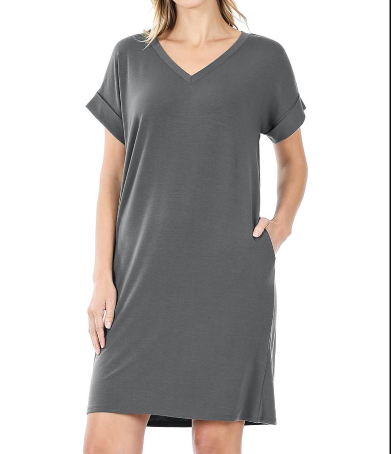 Short Rolled Sleeve V Neck Solid Dress