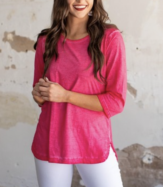 3/4 Sleeve Solid Top with Open Back Detail
