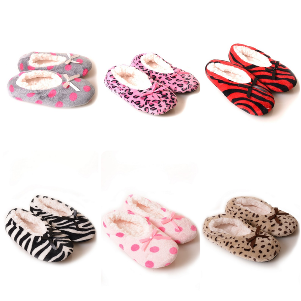 Patterned Faux Sherpa Lined Slippers