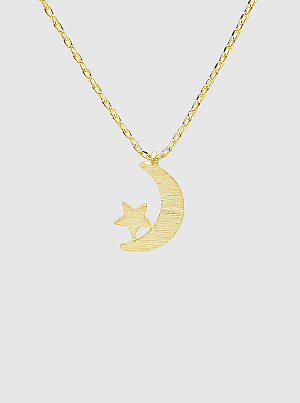 Dipped Brushed Metal Celestial Stars Moon Pendant Necklace