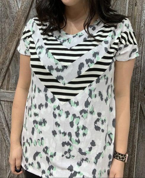 Short Sleeve Neon Leopard Stripe Chevron Top