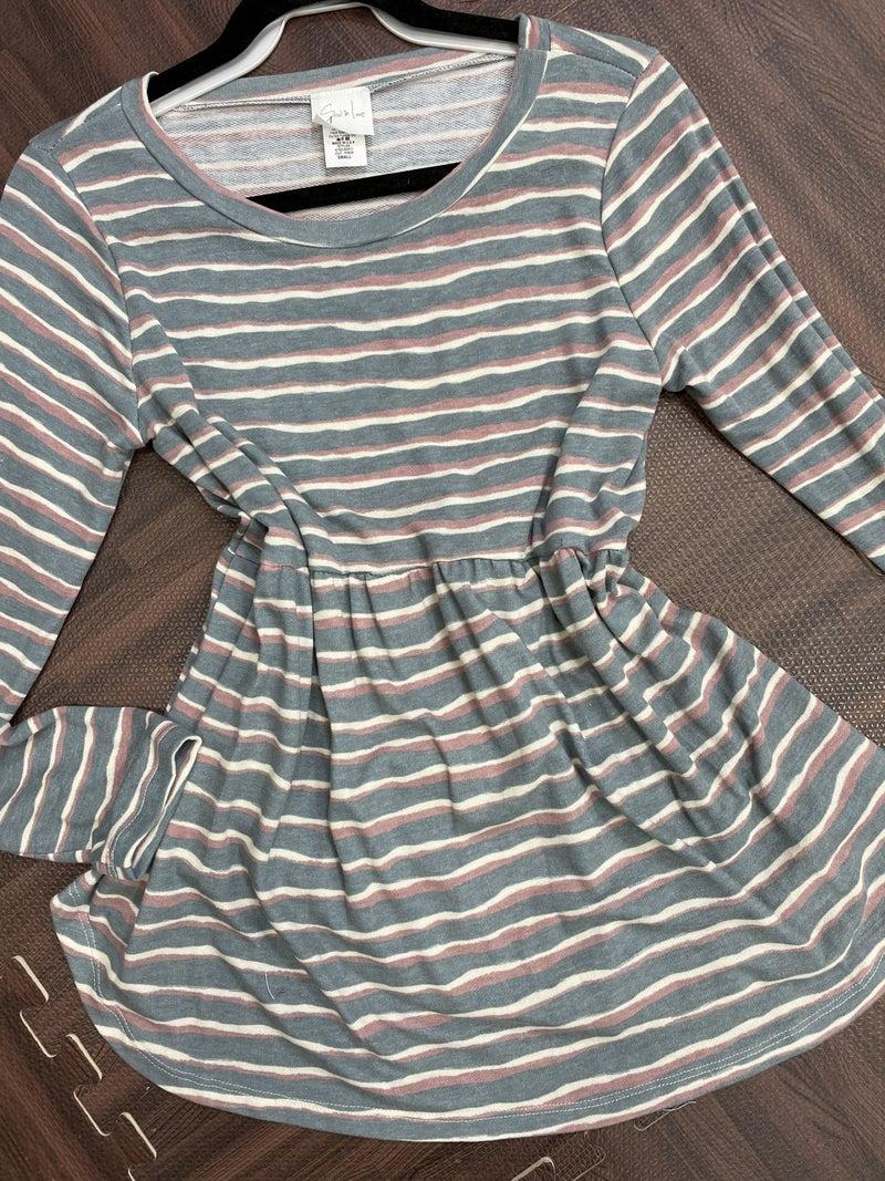 Long Sleeve Round Neck Stripe Babydoll Top
