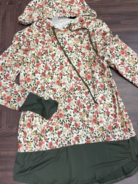 Long Sleeve Floral Hoodie Top with Solid Detail