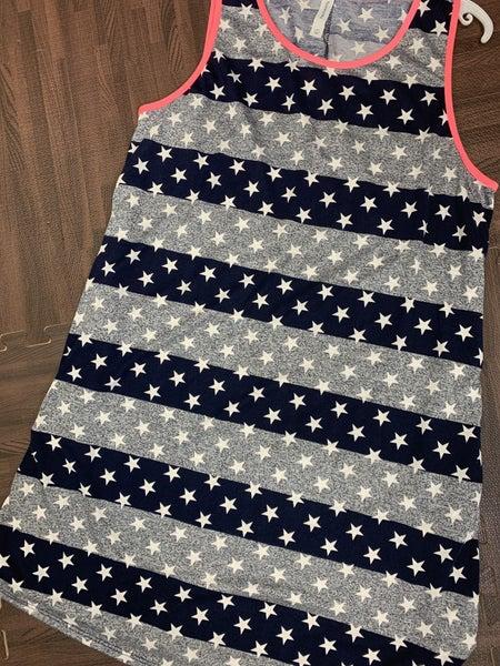 Sleeveless Star and Stripe Print Dress with Neon Trim
