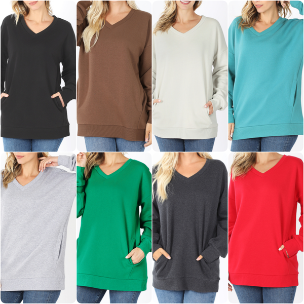 Long Sleeve V Neck Solid Sweatshirt Top with Pockets