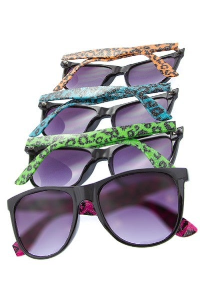 Horned Fashion Sunglasses with Animal Print Sides