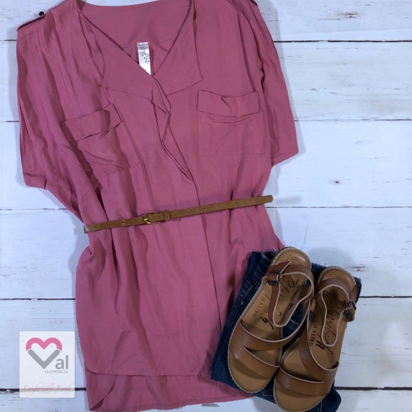 Short Rolled Sleeve Solid Top with Pockets and Belt