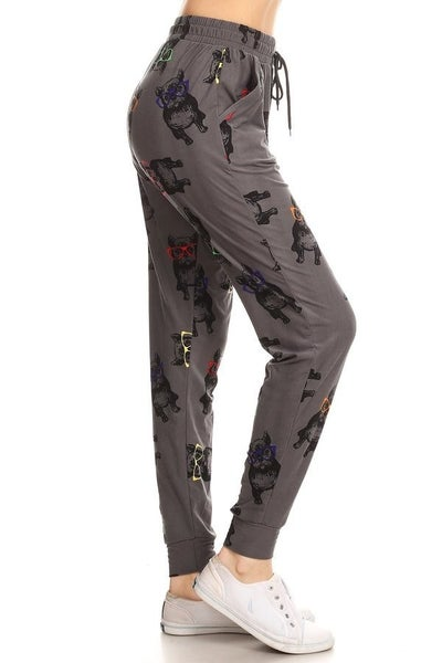 Leggings Material Hipster Frenchie Printed Joggers