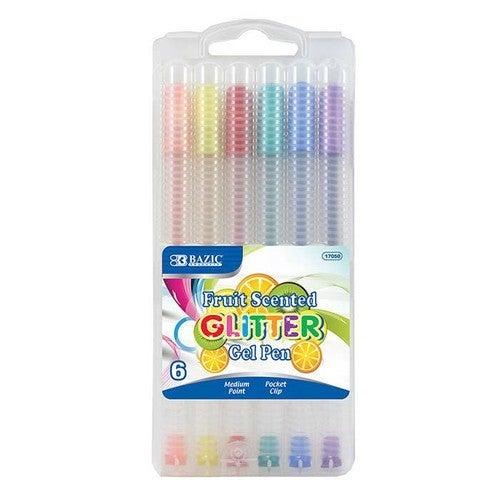 Fruit Scented Glitter Gel Pens -- Pack of 6