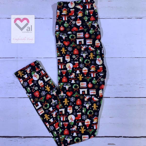 Holiday Icon Printed Leggings with Black Background