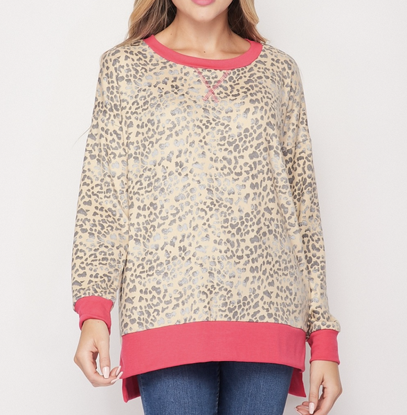Long Sleeve Cheetah Print Top with Bright Trim Detail