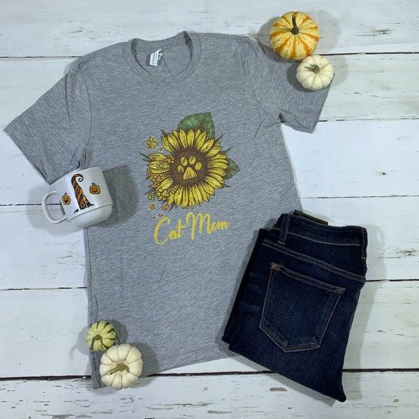 Sunflower Cat Mom Graphic Tee