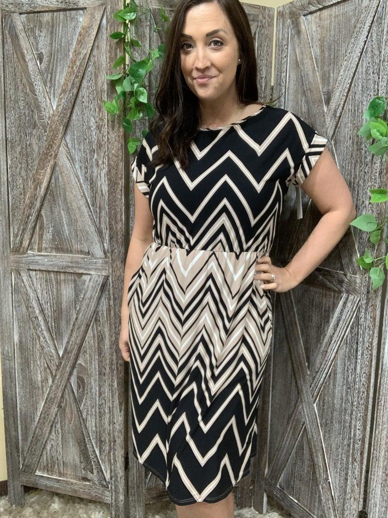 Short Rolled Sleeve Chevron Midi Dress