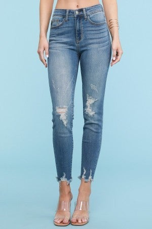 Judy Blue High Rise Fray Hem Distressed Skinny Jeans