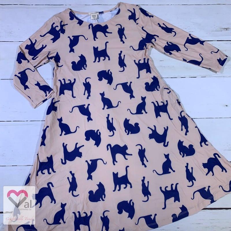Half Sleeve Cat Print Swing Dress with Pockets