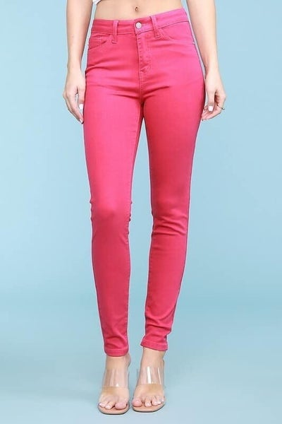 Judy Blue High Waisted Solid Fuchsia Skinny Jeans
