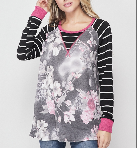 Long Striped Sleeve Floral Leopard Print Top