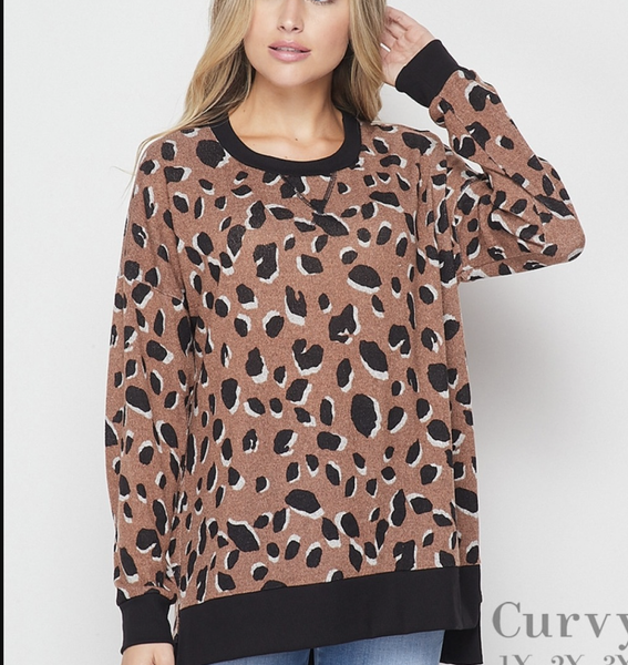 Long Sleeve Leopard Top with Trim Detail