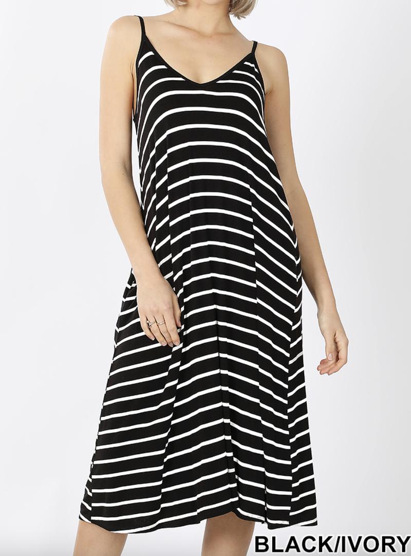 Spaghetti Strap Stripe V Neck Dress