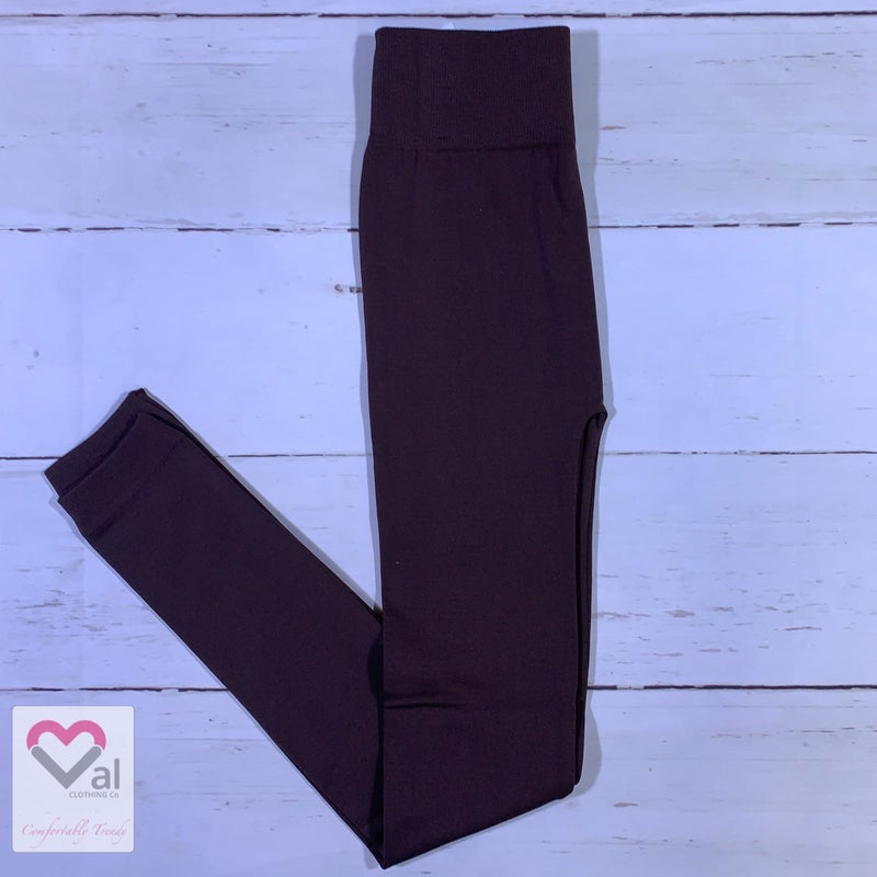 Solid Fleece Lined Leggings with Ribbed Yoga Band