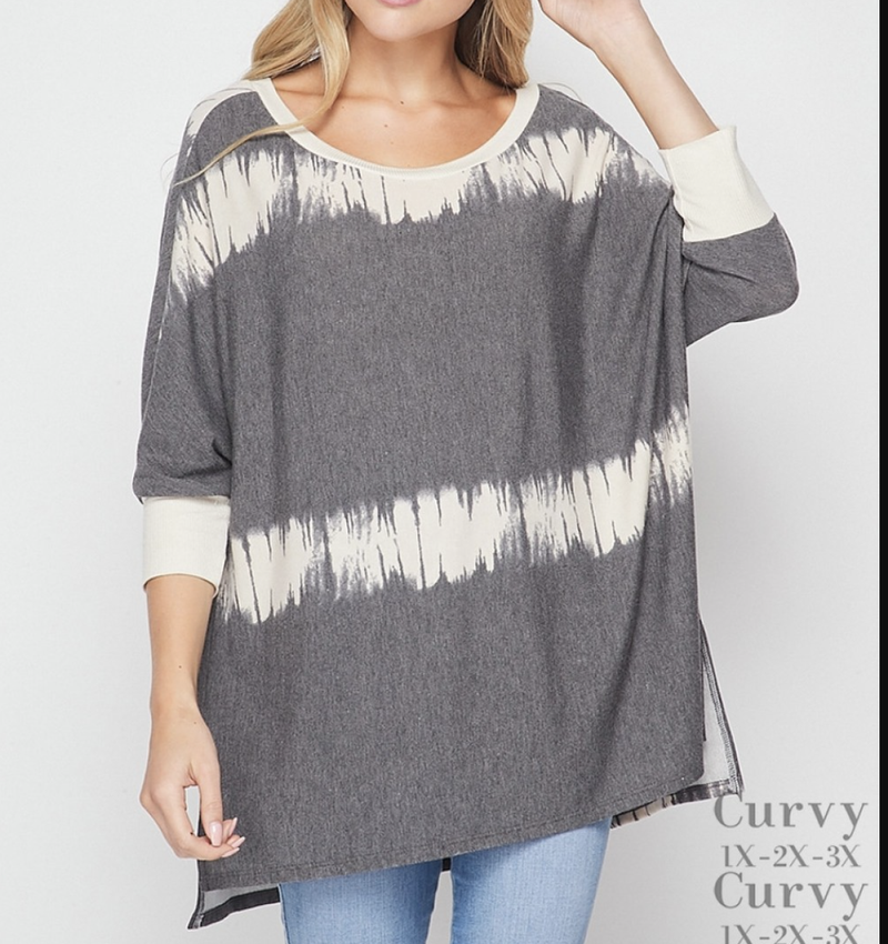 Half Sleeve Paint Stripe Top with Side Slit Detail
