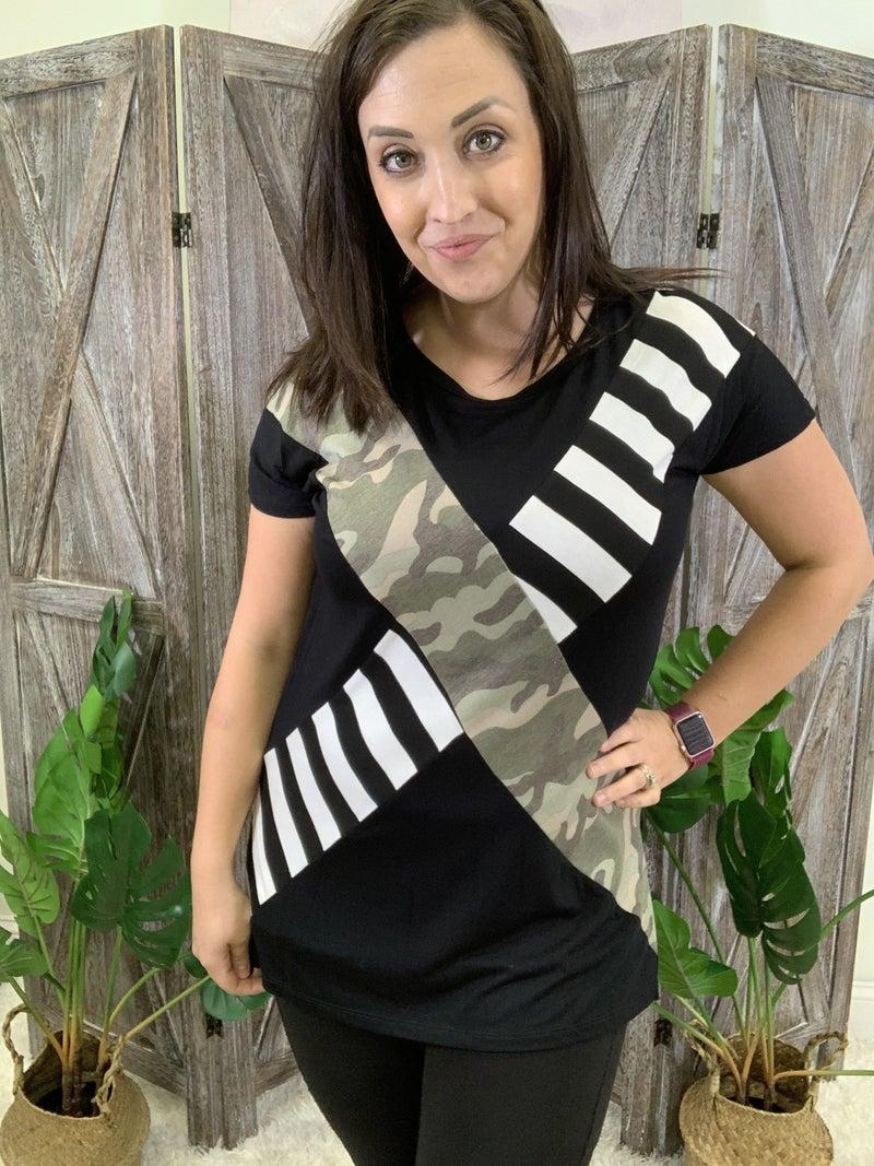 Short Sleeve Stripe and Camo Print Top
