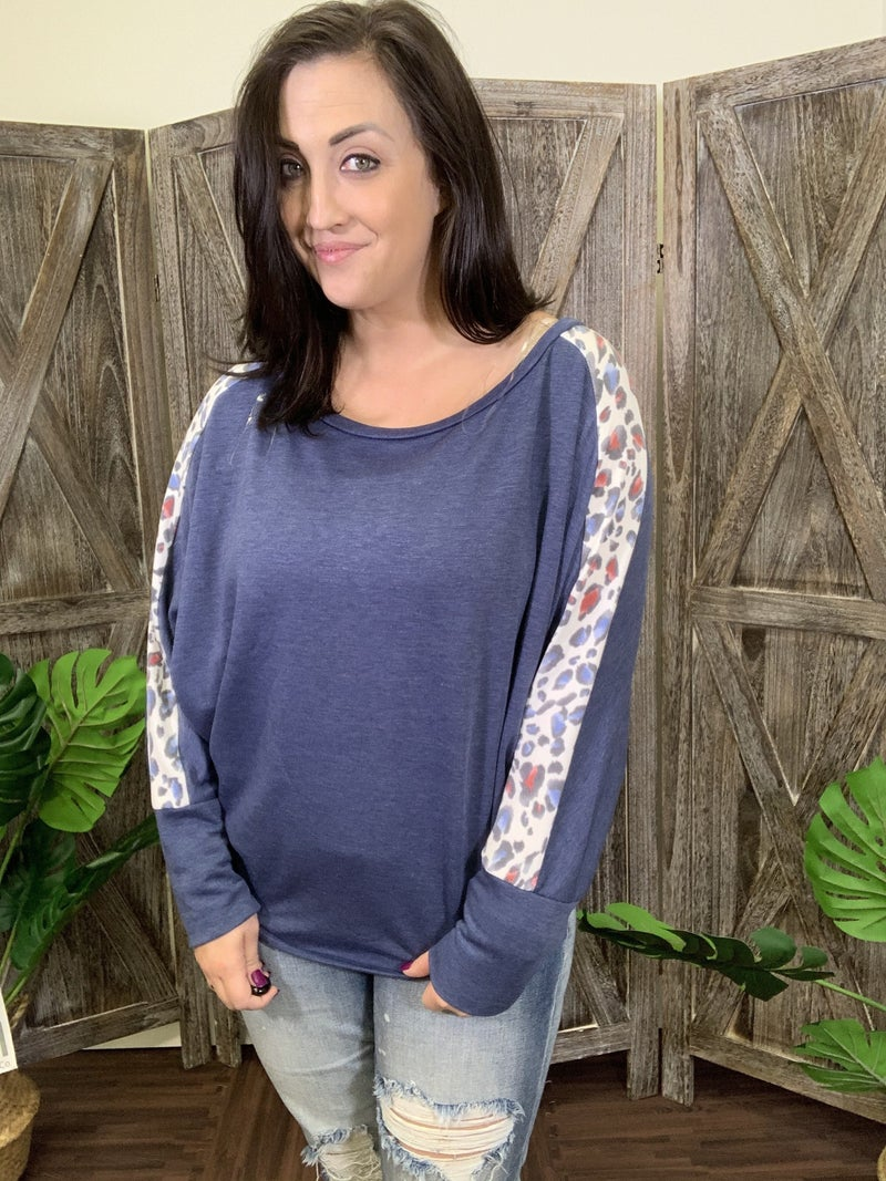 Long Dolman Sleeve Boat Neck Top with Leopard Detail