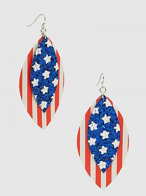 Leatherette USA Print Leaf Shape Dangle Drop Earrings