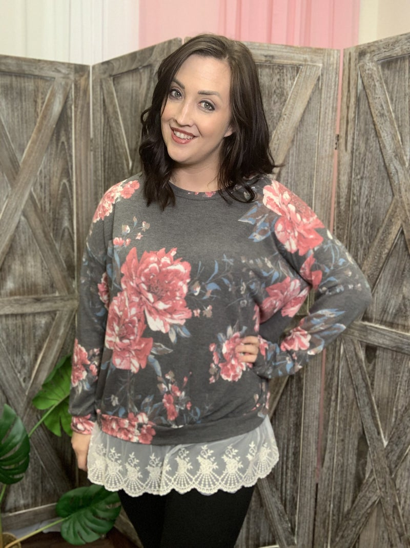 Long Sleeve Floral Top with Bottom Lace Detail
