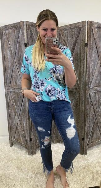 Judy Blue Mid Rise Skinny Jeans with Asymmetric Frayed Hem