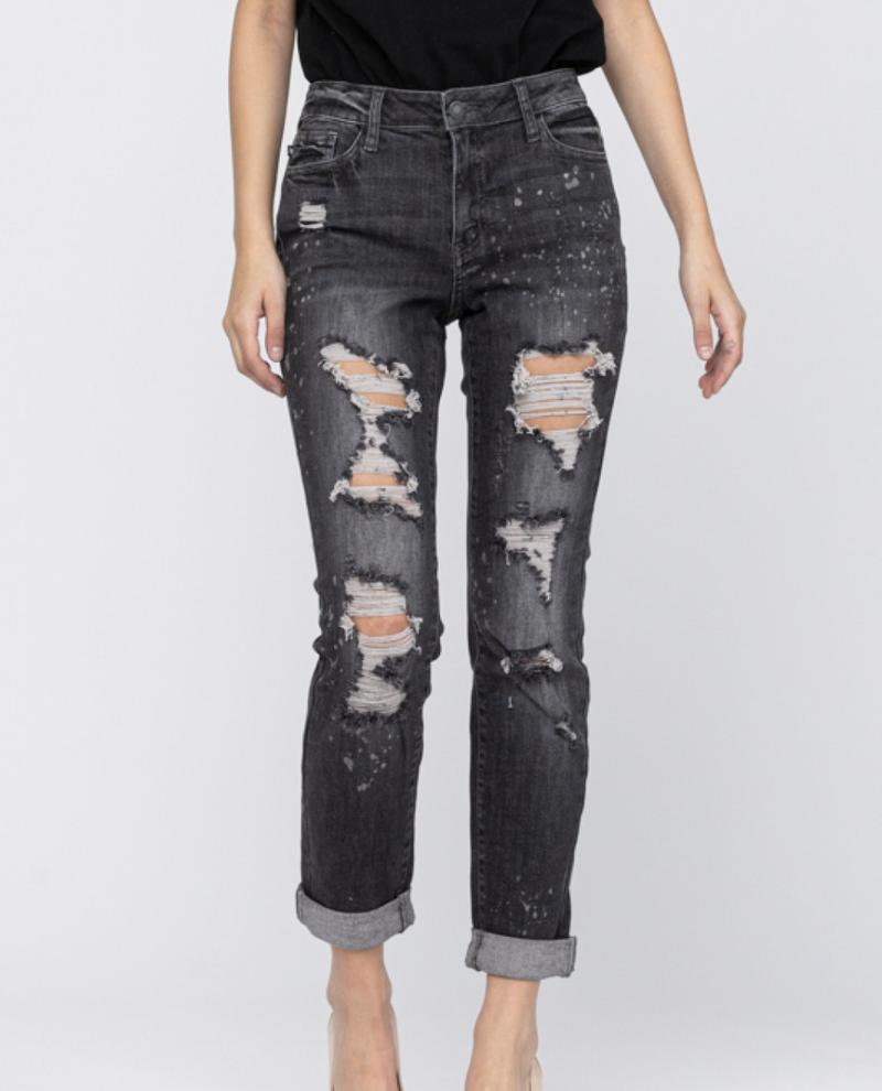 Judy Blue Mid Rise Black Bleach Splatter Boyfriend Jeans