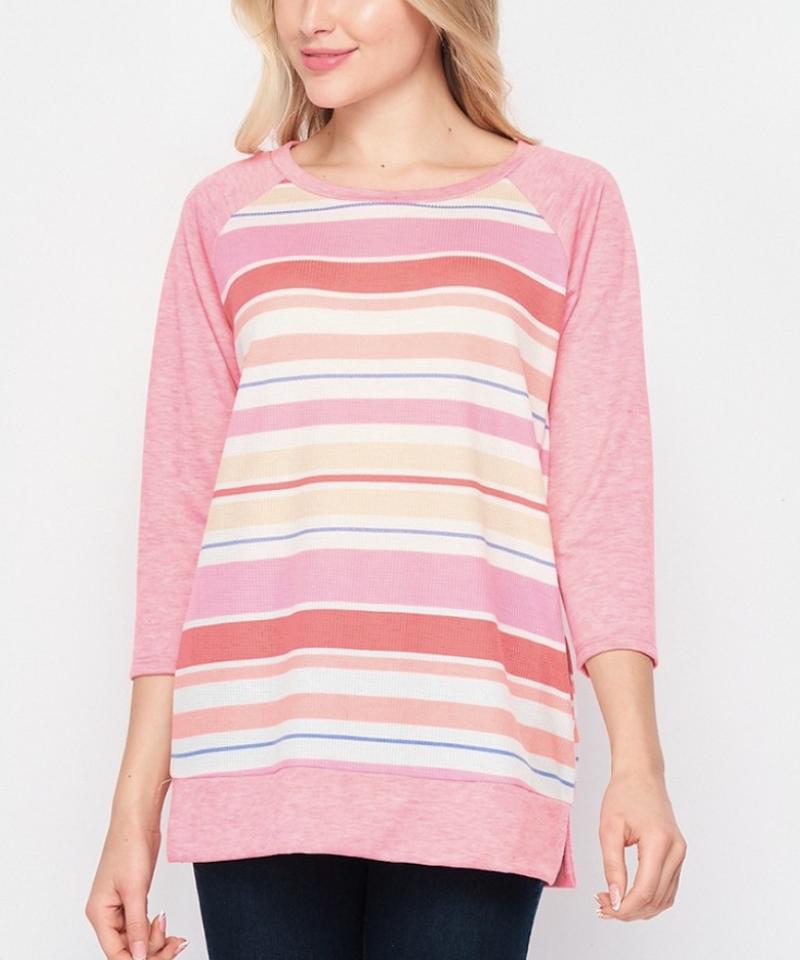 3/4 Sleeve Solid & Stripe Top