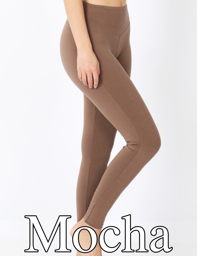 Full Length Cotton Leggings with Yoga Band