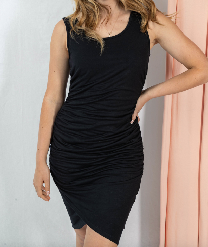 Sleeveless Round Neck Ruched Solid Dress