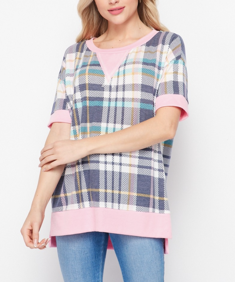 Short Sleeve Summer Plaid & Solid Top